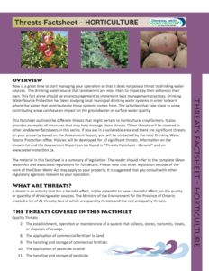Fact Sheet Horticulture